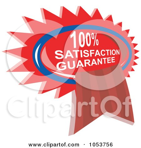 Royalty-Free Vector Clip Art Illustration of a Red Satisfaction Guarantee Ribbon by patrimonio