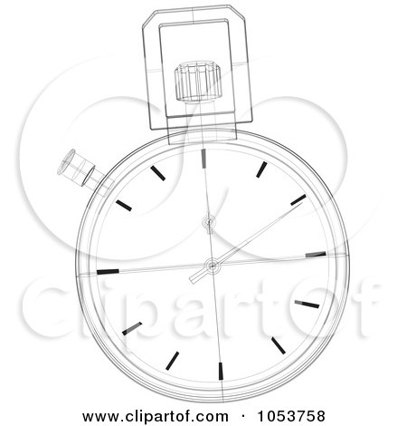 Royalty-Free Vector Clip Art Illustration of a Stopwatch Sketch - 1 by patrimonio