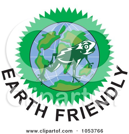 Royalty-Free Vector Clip Art Illustration of a Frog Over A Globe Above Earth Friendly Text - 2 by patrimonio