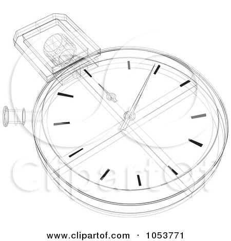 Royalty-Free Vector Clip Art Illustration of a Stopwatch Sketch - 2 by patrimonio