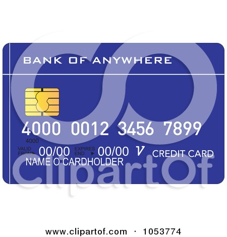 Royalty-Free Vector Clip Art Illustration of a Blue Credit Card by ...
