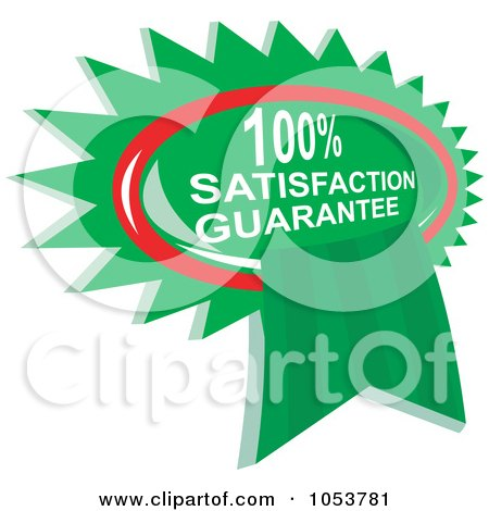 Royalty-Free Vector Clip Art Illustration of a Green Satisfaction Guarantee Ribbon by patrimonio