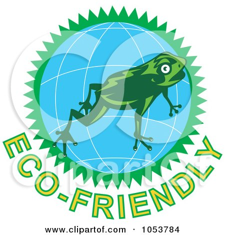 Royalty-Free Vector Clip Art Illustration of a Frog Over A Globe Above Eco-Friendly Text - 2 by patrimonio