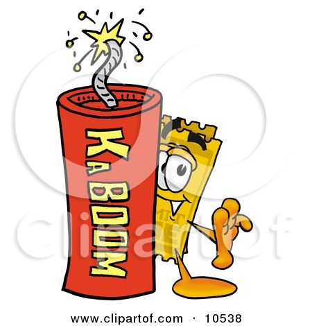 Clipart Picture of a Yellow Admission Ticket Mascot Cartoon Character Standing With a Lit Stick of Dynamite by Toons4Biz
