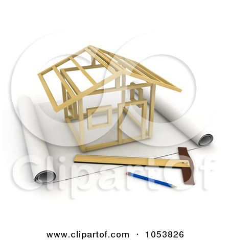 Royalty-Free 3d Clip Art Illustration of a 3d House Being Constructed On Blueprints by BNP Design Studio