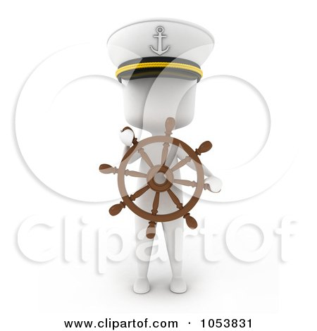 Royalty-Free 3d Clip Art Illustration of a 3d Ivory White Man Captain With A Helm by BNP Design Studio