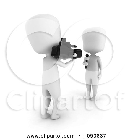Royalty-Free 3d Clip Art Illustration of a 3d Ivory White Man Reporter And Camera Man by BNP Design Studio