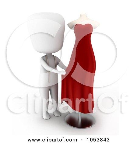 Royalty-Free 3d Clip Art Illustration of a 3d Ivory White Man Designing A Dress by BNP Design Studio