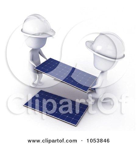 Royalty-Free 3d Clip Art Illustration of 3d Ivory White Men Installing Solar Panels by BNP Design Studio