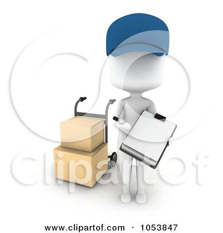 Royalty-Free 3d Clip Art Illustration of a 3d Ivory White Man Delivering Boxes by BNP Design Studio