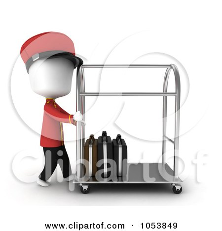 Royalty-Free 3d Clip Art Illustration of a 3d Ivory White Man Bellboy Pushing A Luggage Cart by BNP Design Studio