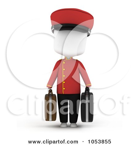 Royalty-Free 3d Clip Art Illustration of a 3d Ivory White Man Bellboy Carrying Luggage by BNP Design Studio