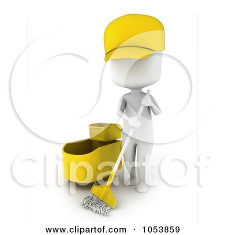 Royalty-Free 3d Clip Art Illustration of a 3d Ivory White Man Janitor Mopping by BNP Design Studio