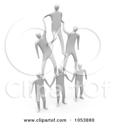 Royalty-Free 3d Clip Art Illustration of a Team Of 3d White Men Forming A Pyramid by 3poD