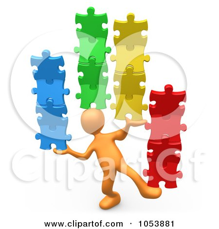 Royalty-Free 3d Clip Art Illustration of a 3d Orange Person Balancing Puzzle Pieces by 3poD