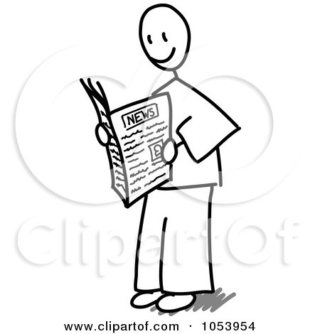 Royalty Free Vector Clip Art Illustration Of A Stick Man Reading A