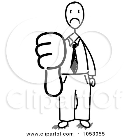 Royalty-Free Vector Clip Art Illustration of a Stick Businessman Holding A Thumb Down by Frog974