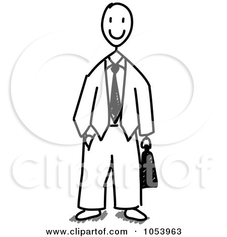 Royalty-Free Vector Clip Art Illustration of a Stick Business Man by Frog974