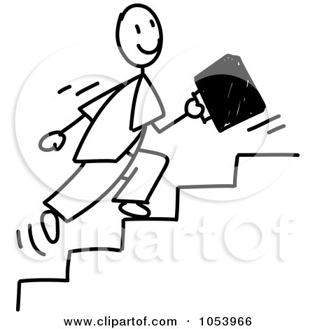 Royalty-Free Vector Clip Art Illustration of a Stick Businessman Running Up Stairs by Frog974