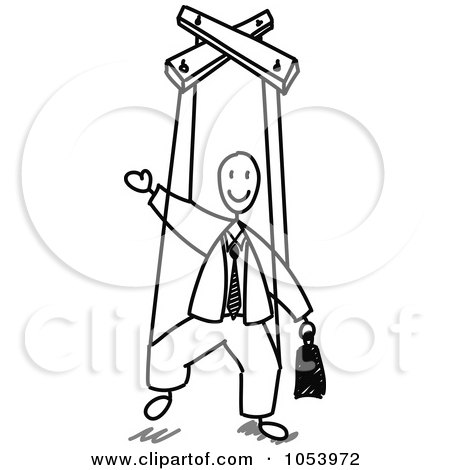 Royalty-Free Vector Clip Art Illustration of a Stick Man Puppet by Frog974