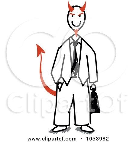 Royalty-Free Vector Clip Art Illustration of a Stick Devil Businessman by Frog974