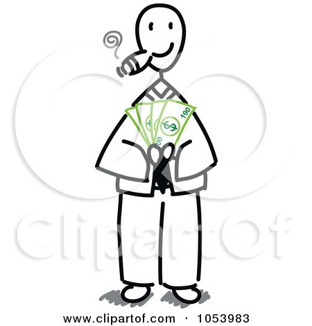 Royalty-Free Vector Clip Art Illustration of a Stick Businessman Holding Cash by Frog974