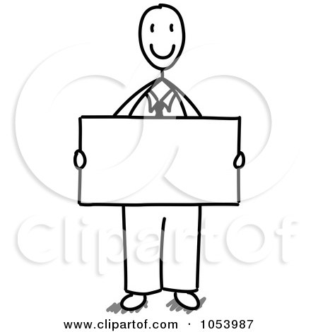 Royalty-Free Vector Clip Art Illustration of a Stick Businessman Holding A Blank Sign by Frog974