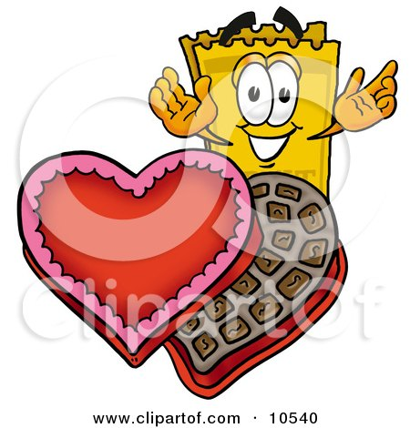 Clipart Picture of a Yellow Admission Ticket Mascot Cartoon Character With an Open Box of Valentines Day Chocolate Candies by Toons4Biz