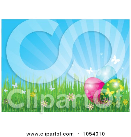 Royalty-Free Vector Clip Art Illustration of a Background Of Rays With Spring Flowers, Butterflies And Easter Eggs by Pushkin