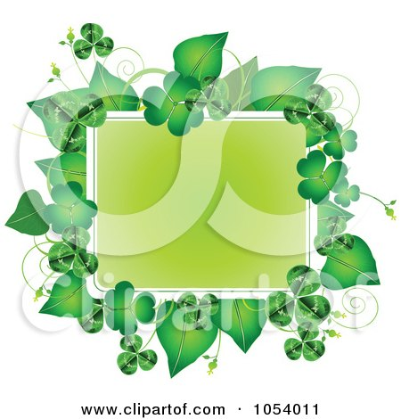 Royalty-Free Vector Clip Art Illustration of a Green St Patricks Day Frame Of Leaves And Shamrocks by Pushkin