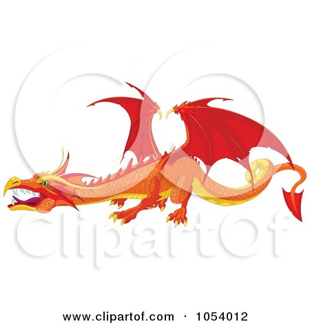 Royalty-Free Vector Clip Art Illustration of a Red And Orange Dragon by Pushkin