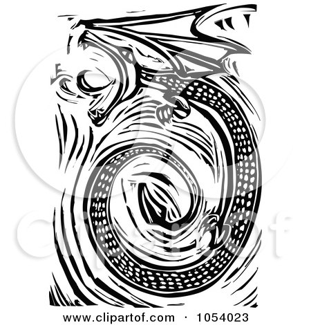 Royalty-Free Vector Clip Art Illustration of a Black And White Woodcut Styled Spiraling Dragon by xunantunich