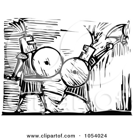 Royalty-Free Vector Clip Art Illustration of a Black And White Woodcut Styled Knights by xunantunich