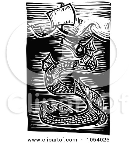 Royalty-Free Vector Clip Art Illustration of a Black And White Woodcut Styled Sea Serpent Under A Ship by xunantunich
