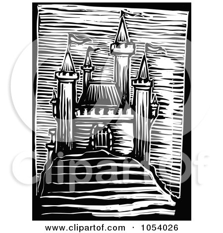 Royalty-Free Vector Clip Art Illustration of a Black And White Woodcut Styled Medieval Castle by xunantunich