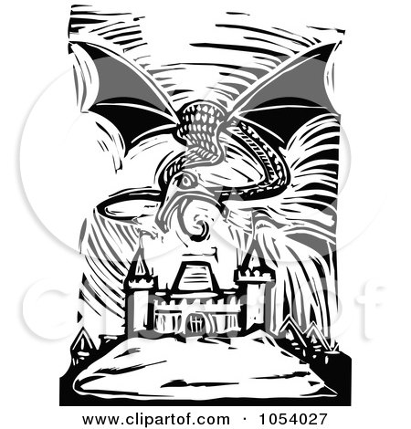 Royalty-Free Vector Clip Art Illustration of a Black And White Woodcut Styled Dragon Over A City by xunantunich