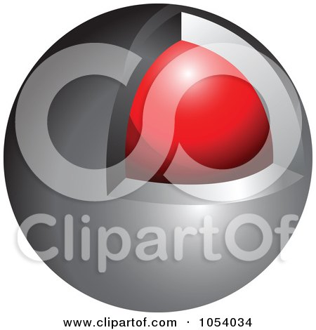 Royalty-Free 3d Vector Clip Art Illustration of a Silver And Red Sphere Logo by vectorace