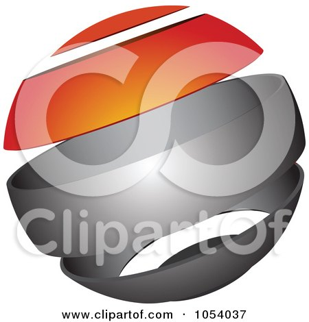 Royalty-Free 3d Vector Clip Art Illustration of a Silver And Orange Sphere Logo by vectorace