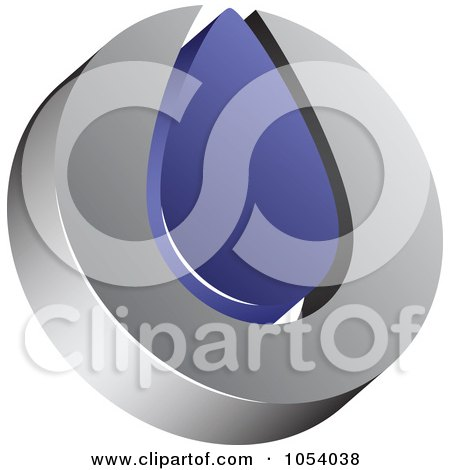 Royalty-Free 3d Vector Clip Art Illustration of a Silver And Blue Droplet Logo by vectorace