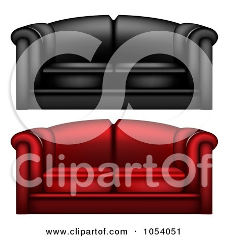 Royalty-Free Vector Clip Art Illustration of a Digital Collage Of 3d Red And Black Leather Couches by vectorace