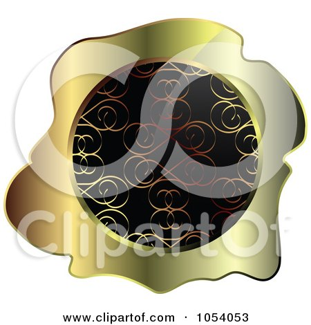 Royalty-Free Vector Clip Art Illustration of a Gold And Black Ornate Vintage Wax Label by vectorace