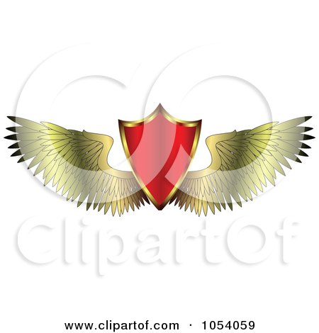 Red Shield With Golden Wings Posters, Art Prints