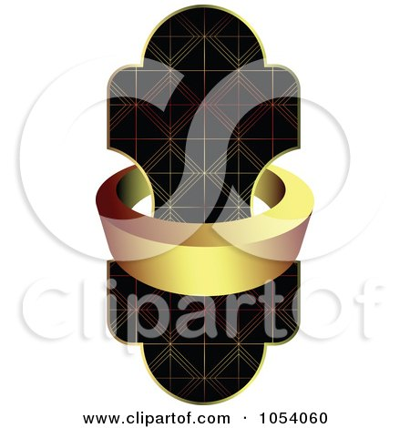 Royalty-Free Vector Clip Art Illustration of a Gold Label Ring Around An Ornate Design by vectorace