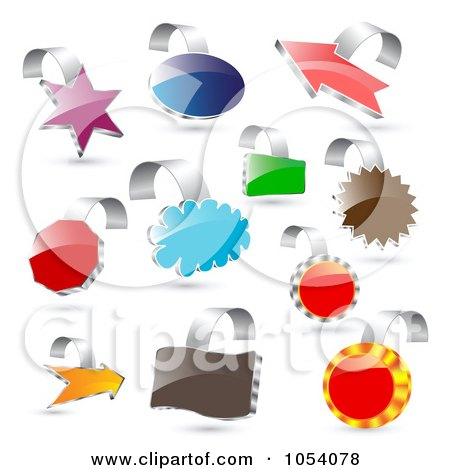 Royalty-Free Vector Clip Art Illustration of a Digital Collage Of 3d Colorful And Shiny Labels by vectorace