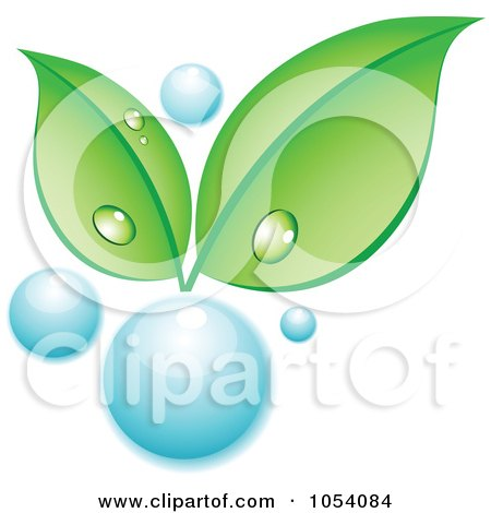 Royalty-Free Vector Clip Art Illustration of Dewy Green Leaves Growing From A Water Bubble by vectorace