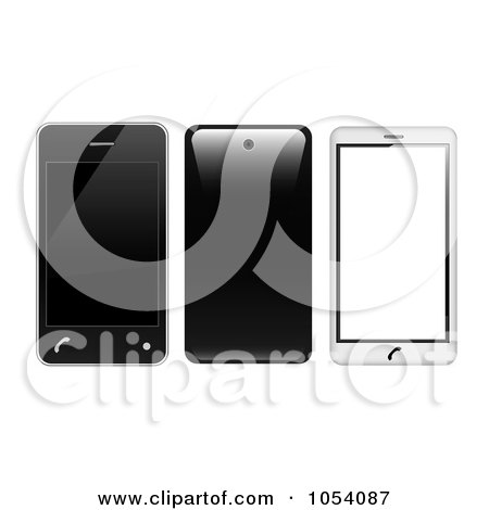 Royalty-Free Vector Clip Art Illustration of a Digital Collage Of 3d Black And White Cell Phones by vectorace