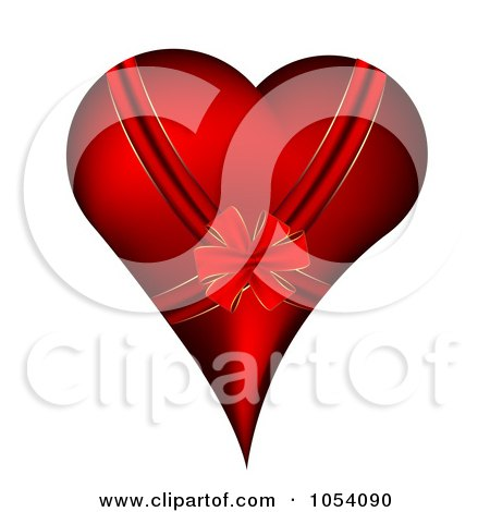 Royalty-Free Vector Clip Art Illustration of a Bow And Ribbon On A Red Heart by vectorace