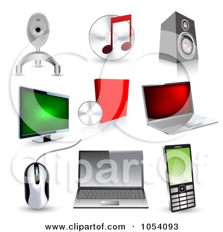 Royalty-Free Vector Clip Art Illustration of a Digital Collage Of 3d Technology Icons by vectorace