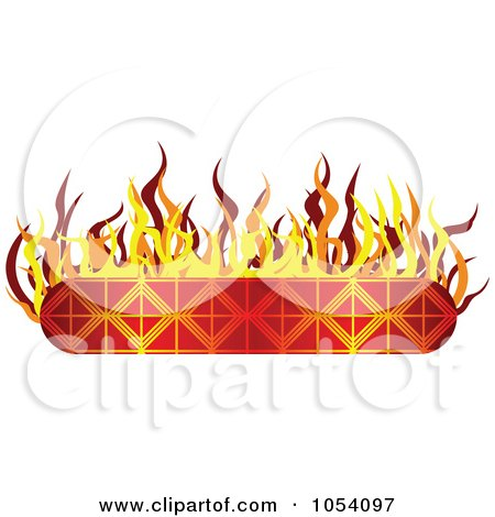Royalty-Free Vector Clip Art Illustration of a Fiery Banner Label by vectorace