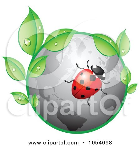 Royalty-Free Vector Clip Art Illustration of a Ladybug On A Gray Globe With Dewy Leaves by vectorace